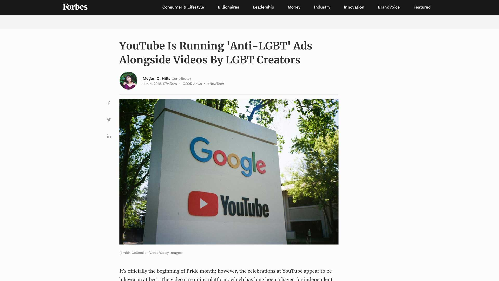 YouTube Accused of Homophobia for Advertising My Video